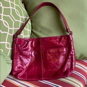 Red leather HOBO brand shoulder bag